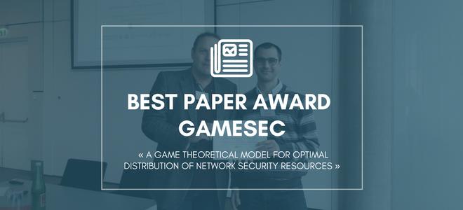 Prix du meilleur papier au GAMESEC 2017