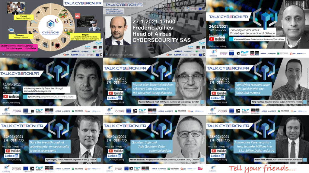 La chaire CYBER CNI annonce « Your monthly Cybersecurity Speaker Series »