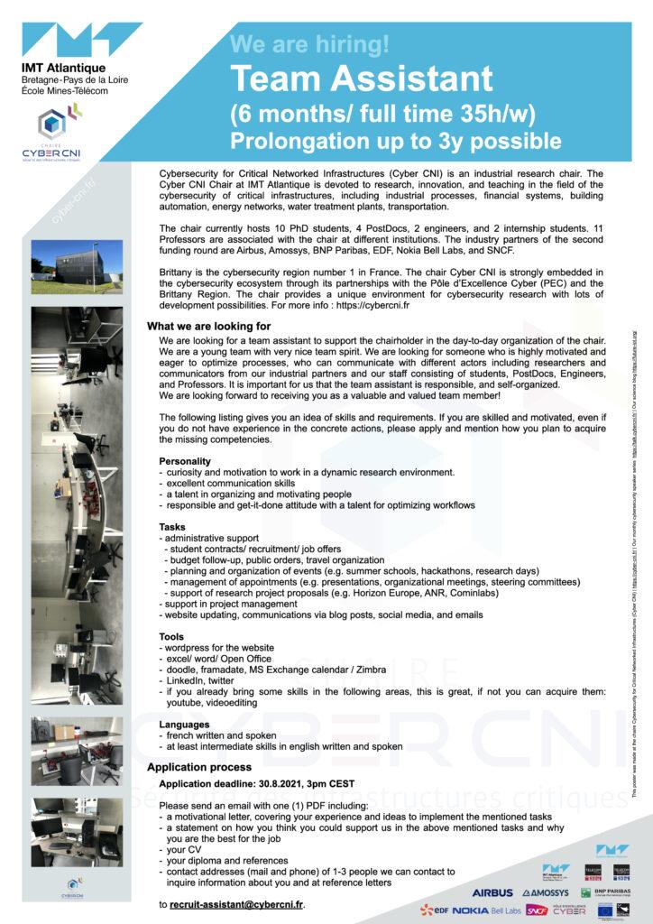 Job offer: Team Assistant